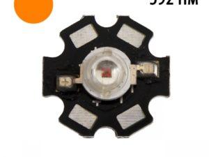 Фито светодиод 3 Вт 592 нм. (оранжевый) на PCB «звезда»